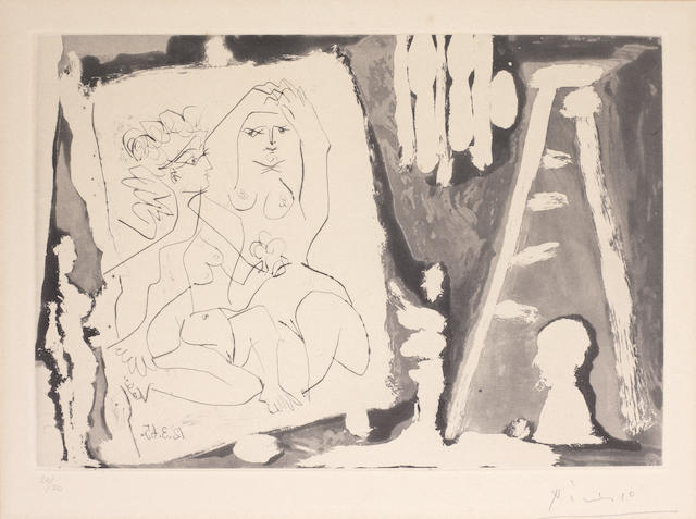 Pablo Picasso (Spanish, 1881-1973) Dans l'Atelier Aquatint and drypoint, 1965, on Auvergne Richard de Bas, signed and numbered 32/50 in pencil, printed by Crommelynck, Paris, published by Galerie Louise Leiris, Paris, 222 x 322mm (8 3/4 x 12 5/8in)(PL)
