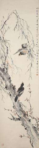 Ding Baoshu (1866-1936) Two Birds under Willow