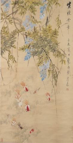 Xu Gu (1823-1896) Gold Fish and Wisteria