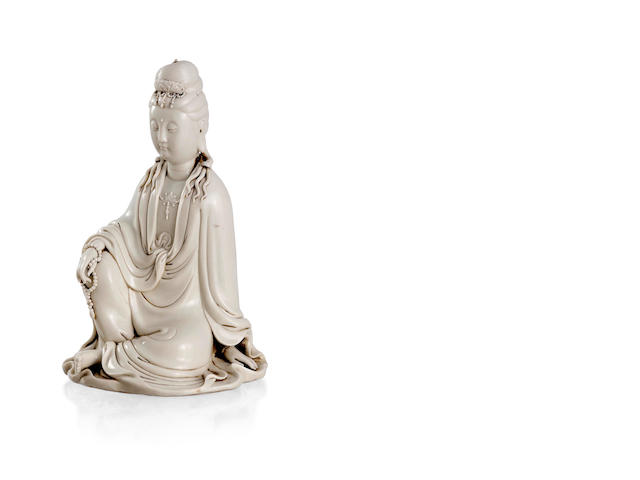 A Chinese Blanc-de-chine Guanyin statue Four-character studio mark to the back, Republic