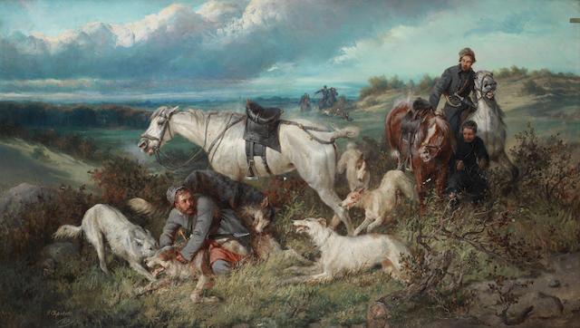 Nikolai Egorovich Sverchkov (Russian, 1817-1898) 'Casting the wolf', 1878