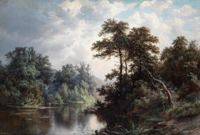 Pavel Pavlovich Dzhogin (Russian, 1834-1885) River landscape