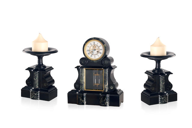 A late 19th century French slate and marble clock garniture  dial signed Rabousseal, Tours