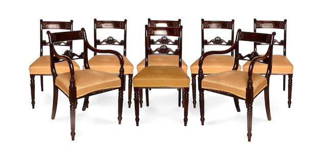 A set of eight Regency mahogany dining chairs including two armchairs