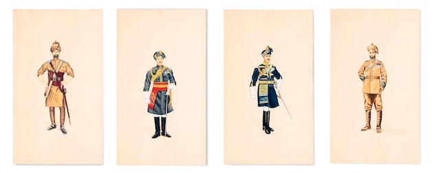 A set of four watercolours of Indian service men the frame 44 x 31