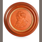 Nelson Illingworth (1871-1921) A terracotta medallion plaque bust of Charles Dickens, circa 1890