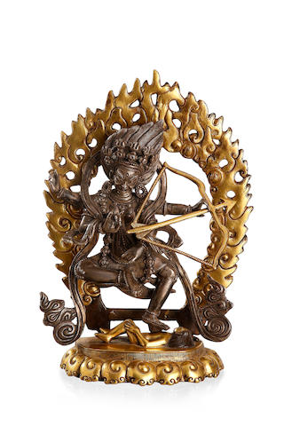 A Tibetan parcel-gilt-bronze and silver Dakini 19th century