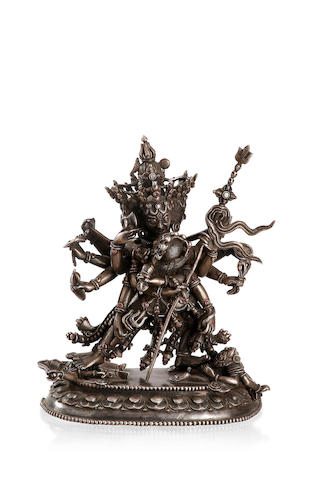 A Sino-Tibetan silver figure of Samvara and consort 19th century