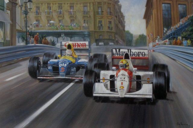 'Fight to the Finish' signed by Ayrton Senna, after Alan Fearnley,