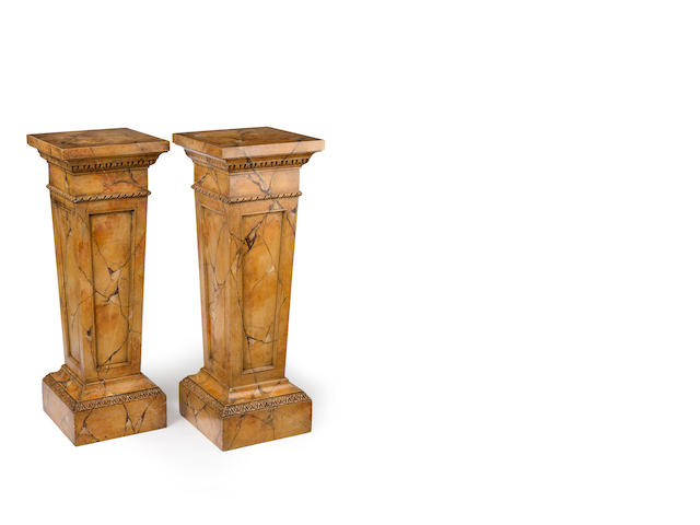 A fine pair of mid Victorian faux marble  plinths