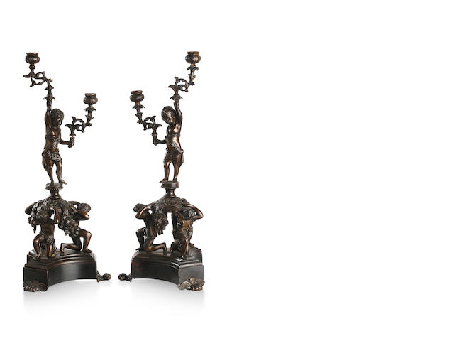 A pair of 19th century French  gilt bronze figural candelabra