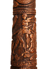 An important historical 'Captian Cook' commemorative carved wood and horn batonby Edward Haynes (1828-1927)