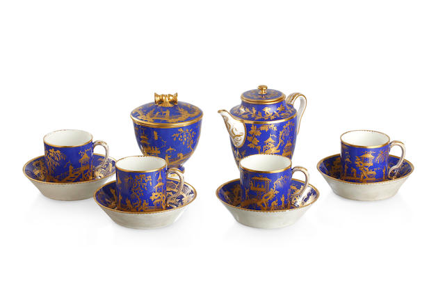 A Sèvres soft paste porcelain tea set for four Circa 1780