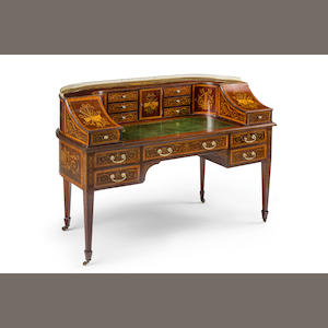 A fine Victorian  inlaid mahogany and satinwood Carlton House deskCirca 1880