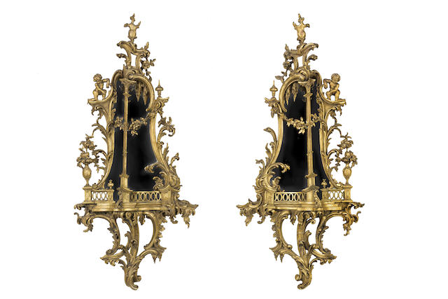 A pair of Chippendale style  carved giltwood mirrorsEnglish, circa 1880