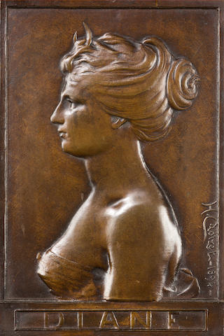 H. Croizet A bronze plaque portrait bust of Diane in profile
