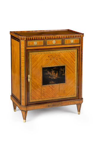 A Sheraton style inlaid satinwood side cabinetCirca 1880