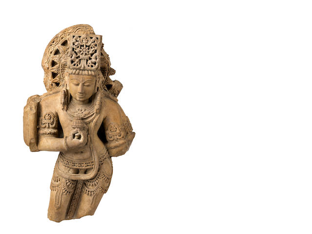 A red sandstone statue of a deity Central India, 12-13th century