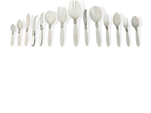 A Georg Jensen silver 'Cactus' pattern flatware service for twelve designed by Gundorph Albertus  (117)