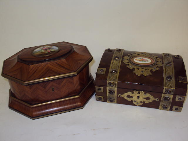 Two gilt-bound, and porcelain-mounted decorative boxes