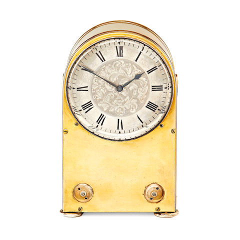 An early 20th century brass and silvered timepiece by Asprey