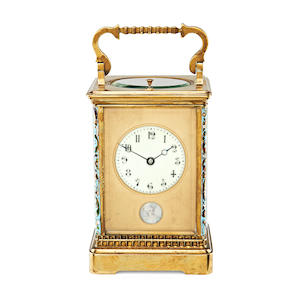 An early 20th c cloisonne carriage clock