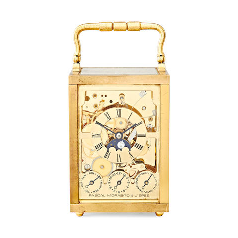 Lepee carriage clock, skeletonised