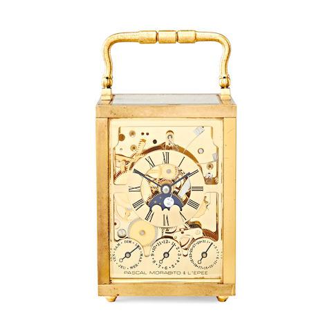 Lepee carriage clock, skeletonised