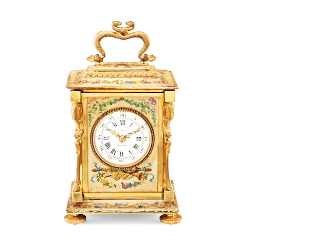 A late 19th century gilt and painted wood carriage clock
