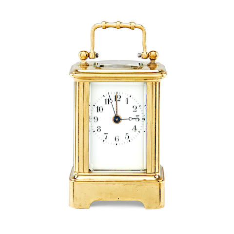 A late 19th century French brass miniature carriage timepiece with alarm Anonymous