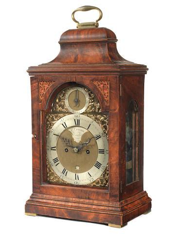 A late 18th century mahogany table clock  F Upjohn, London