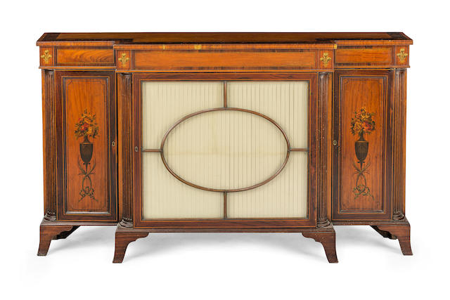 A late Victorian painted satinwood and rosewood  breakfront side cabinetCirca 1880