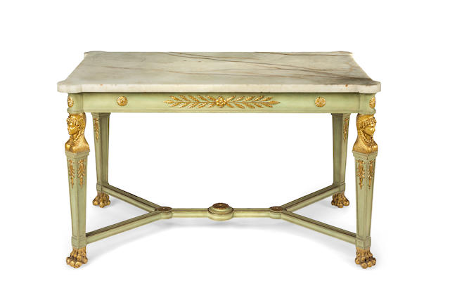 An Empire style painted and gilt decorated marble topped centre table