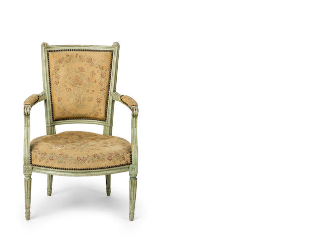 A Louis XVI period  painted and upholstered fauteuil