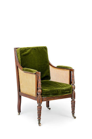 A Regency  mahogany and caned bergere