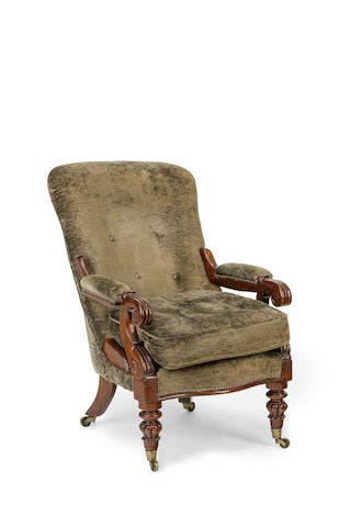 An Australian cedar and upholstered armchair Circa 1845