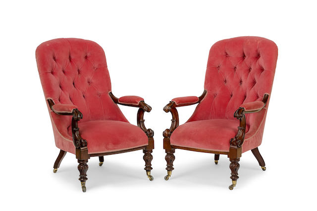 A pair of William IV mahogany and upholstered  armchairsCirca 1835