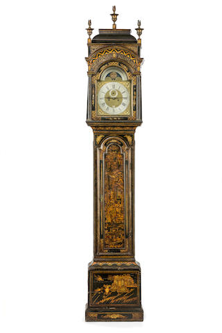 A third quarter of the 18th century black japanned longcase clock  by Edward Gratrex, Birmingham