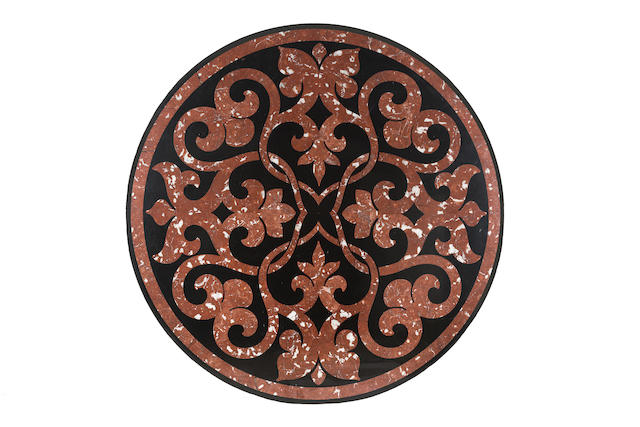 A George IV inlaid mahogany and marble topped centre tablein the manner of George Bullock