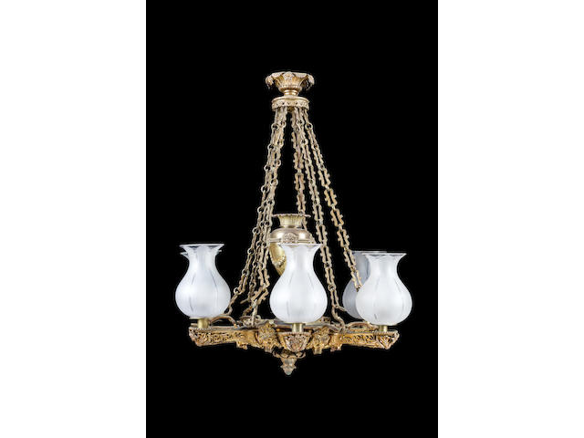 A large George IV gilt bronze six branch argand lamp English, circa 1835