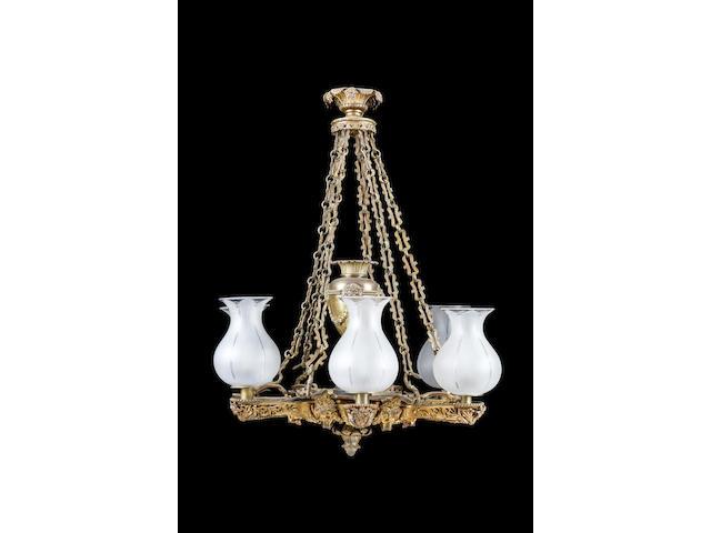 A large George IV gilt bronze six branch argand lamp English, circa 1835