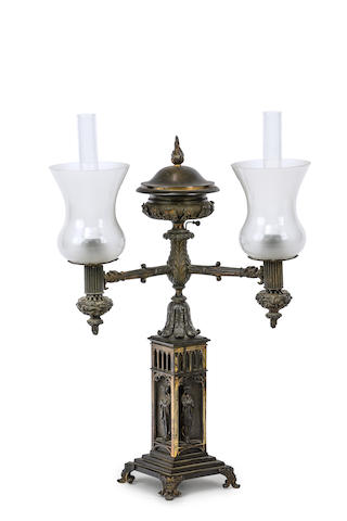 A Gothic Revival patinated bronze twin burner argand table lampCirca 1880
