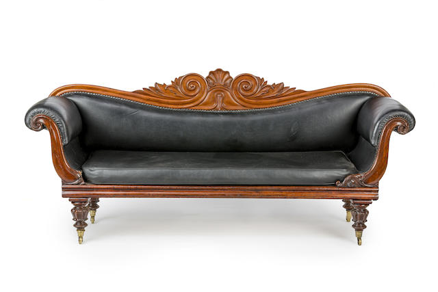 An Australian cedar and upholstered scroll-end sofa Circa 1845
