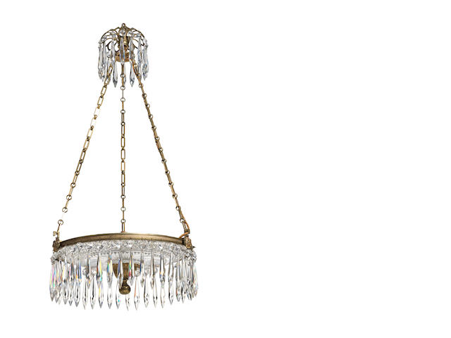 A Regency cut-glass and gilt-brass dish light