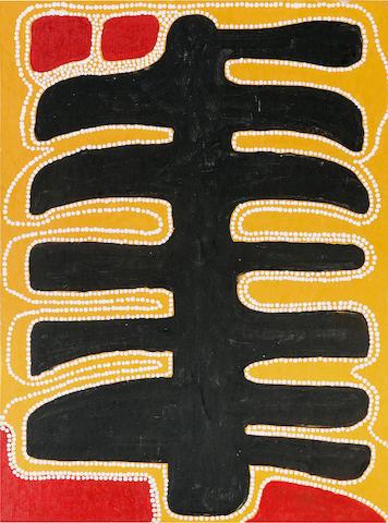 Sunfly Tjampitjin (circa 1916-1996) Goanna Men at Wilkinkarra (Lake Mackay)