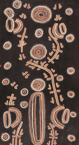 Mick Namarari Tjapaltjarri (circa 1926-1998) Kangaroo Dreaming with One Cave, waterhole and Two Playful Kangaroo Men