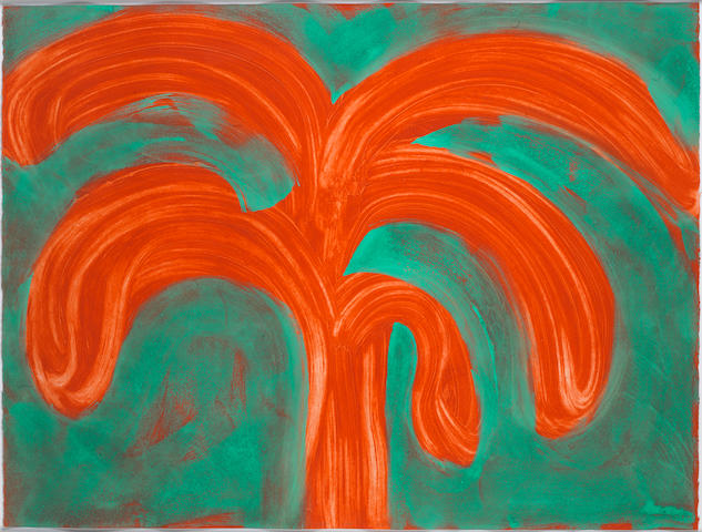 Sir Howard Hodgkin (British, born 1932) Indian Tree  Etching with carborundum in vermillion red and red ochre, with hand colouring in veronese green egg tempera, 1990-91, on Arches, signed with initials, dated lower centre and numbered 55/55 in pencil, printed at 107 Workshop, London, published by Waddington Graphics, London, the full sheet printed to the edges, 910 x 1020mm (35 3/4 x 47 1/4in)(SH)