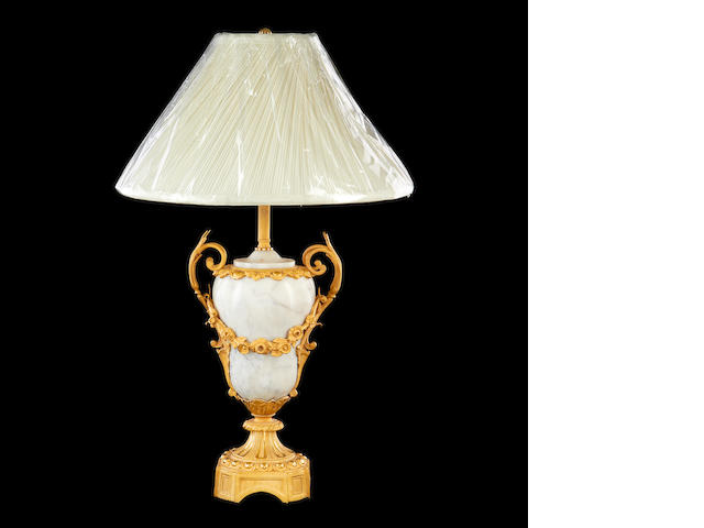A Louis XVI style marble and gilt metal mounted lamp base