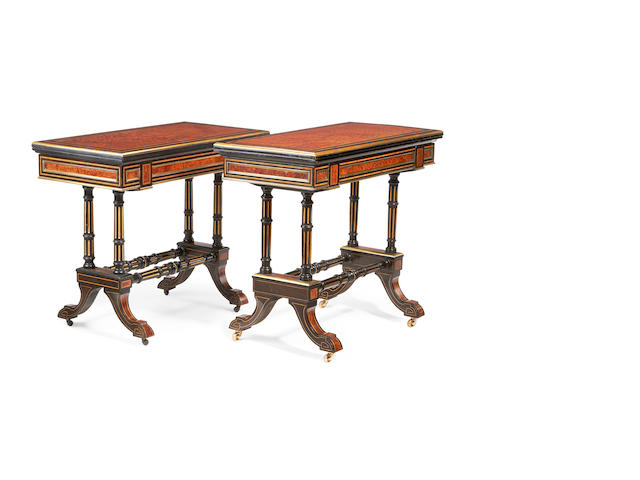 A near pair of French late 19th century brass mounted and parcel gilt burr yew, tulipwood banded and ebonised card tables