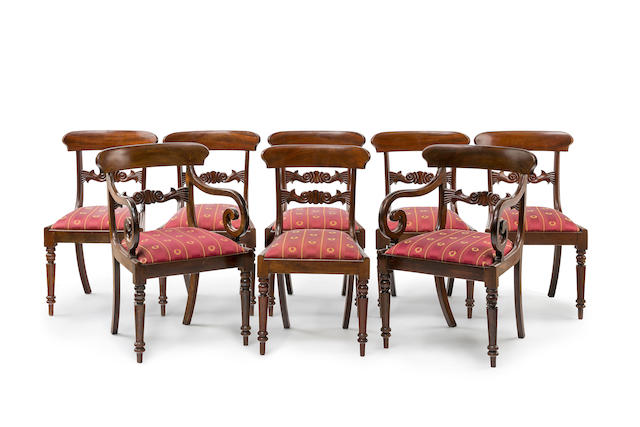 A set of 8 George IV  mahogany  dining chairs including two armchairsCirca 1830